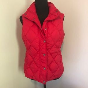 Lands End Red Quilted Down Filled Puffer Vest